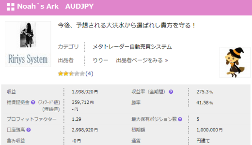 Noah`s Ark AUDJPY 検証開始しました。